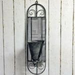 Ornate Wall Mounted Grey Metal Planter with Mirror 82cm Garden